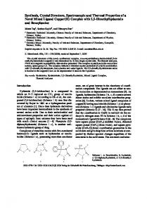 Synthesis, Crystal Structure, Spectroscopic and ... - Semantic Scholar