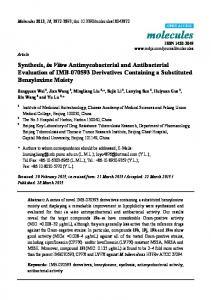 Synthesis, in Vitro Antimycobacterial and Antibacterial ... - MDPI