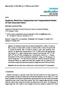 Synthesis, Metal Ion Complexation and Computational Studies of Thio