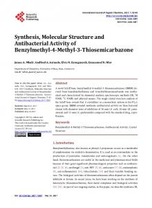 Synthesis, Molecular Structure and Antibacterial Activity of