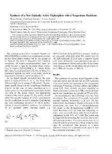 Synthesis of a New Optically Active Triphosphine with