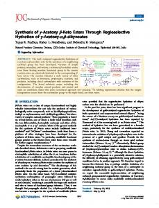 Synthesis of γ-Acetoxy β-Keto Esters Through Regioselective