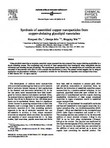 Synthesis of assembled copper nanoparticles from copper-chelating ...