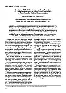 Synthesis of Block Copolymers by Transformation of Free Radical ...