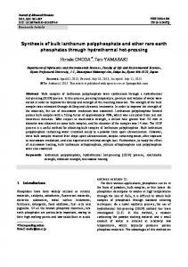 Synthesis of bulk lanthanum polyphosphate and other ... - Springer Link