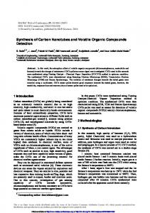 Synthesis of Carbon Nanotubes and Volatile Organic Compounds ...