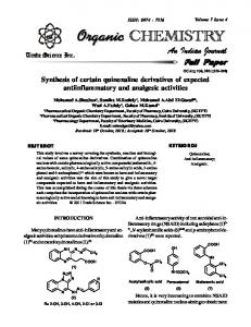 Synthesis of certain quinoxaline derivatives of ...