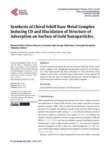 Synthesis of Chiral Schiff Base Metal Complex Inducing CD and ...