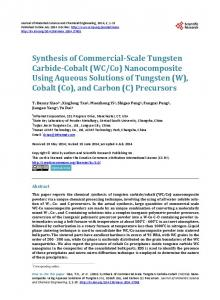 Synthesis of Commercial-Scale Tungsten Carbide