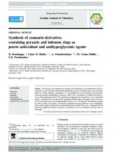 Synthesis of coumarin derivatives containing pyrazole and ... - Core
