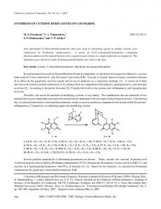 Synthesis of cytisine derivatives of coumarins - Springer Link