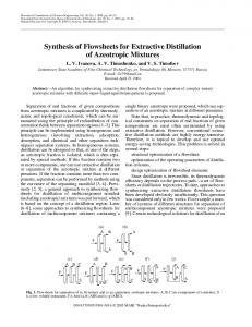 Synthesis of Flowsheets for Extractive Distillation of Azeotropic Mixtures