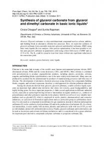 Synthesis of glycerol carbonate from glycerol and ... - Semantic Scholar