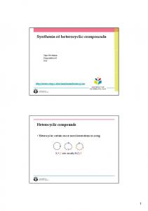 Synthesis of heterocyclic compounds