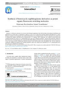 Synthesis of heterocyclic naphthoquinone derivatives ...