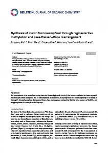 Synthesis of icariin from kaempferol through regioselective ...