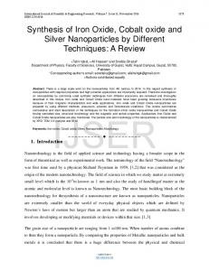 Synthesis of Iron Oxide, Cobalt oxide and Silver Nanoparticles ... - Ijser