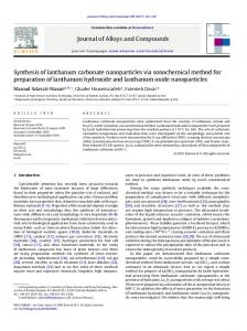 Synthesis of lanthanum carbonate nanoparticles via