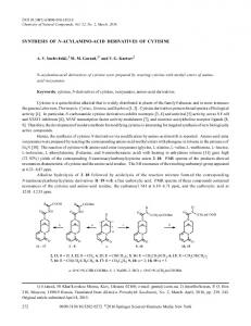 synthesis of n-acylamino-acid derivatives of cytisine - Springer Link
