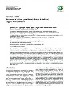 Synthesis of Nanocrystalline Cellulose Stabilized Copper Nanoparticles