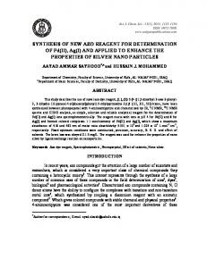 SYNTHESIS OF NEW AZO REAGENT FOR DETERMINATION OF Pd