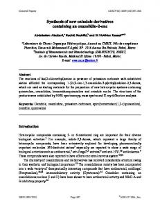 Synthesis of new oxindole derivatives containing an ... - Arkivoc