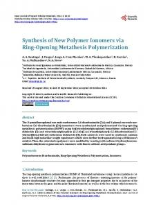 Synthesis of New Polymer Ionomers via Ring-Opening Metathesis ...