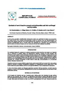 Synthesis of novel bioactive pyrazole carbothioamides and their
