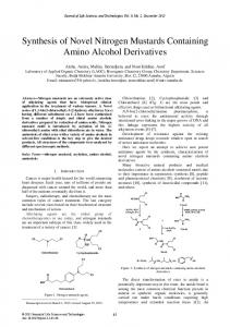 Synthesis of Novel Nitrogen Mustards Containing ...