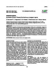 Synthesis of Novel Thiazole Derivatives as Analgesic
