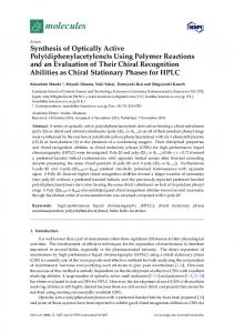 Synthesis of Optically Active Poly (diphenylacetylene) s Using Polymer