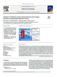 Synthesis of oxidation-resistant electrochemical