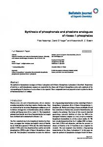 Synthesis of phosphonate and phostone ... - Beilstein Journals