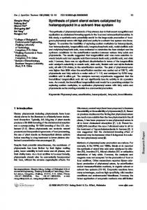 Synthesis of plant sterol esters catalyzed by heteropolyacid in a ...