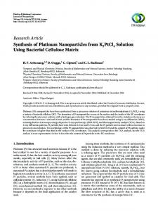 Synthesis of Platinum Nanoparticles from K2PtCl4 Solution Using ...