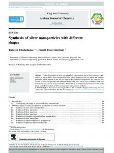 Synthesis of silver nanoparticles with different shapes - Core