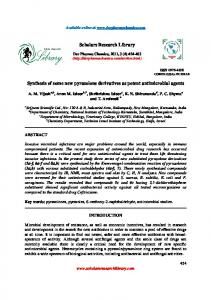 Synthesis of some new pyrazolone derivatives as potent antimicrobial ...