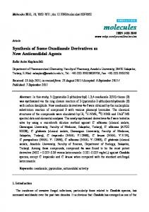 Synthesis of Some Oxadiazole Derivatives as New