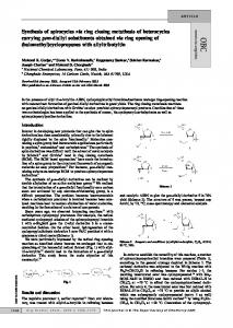 Synthesis of spirocycles via ring closing metathesis of heterocycles ...