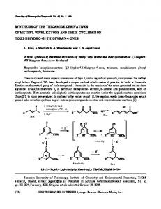 Synthesis of the thioamide derivatives of methyl vinyl ketone and their ...