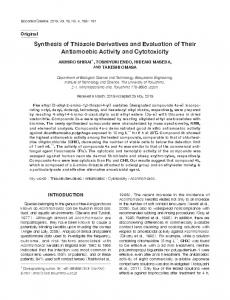 Synthesis of Thiazole Derivatives and Evaluation ... - Semantic Scholar