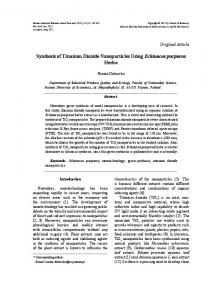 Synthesis of Titanium Dioxide Nanoparticles Using
