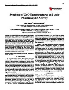 Synthesis of ZnO Nanostructures and their