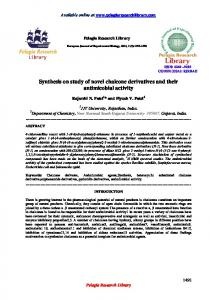 Synthesis on study of novel chalcone derivatives and their ... - iMedPub