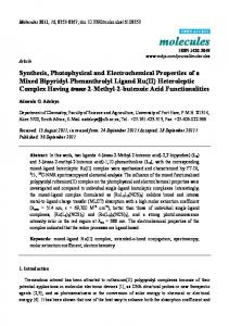 Synthesis, Photophysical and Electrochemical Properties of a ... - MDPI