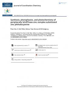 Synthesis, photophysics, and photochemistry of ...