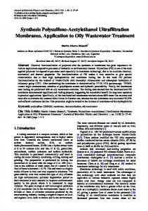 Synthesis Polysulfone-Acetylethanol Ultrafiltration Membranes ... - Core