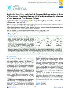 Synthesis, Reactivity, and Catalytic Transfer ... - ACS Publications