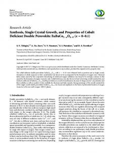 Synthesis, Single Crystal Growth, and Properties of Cobalt Deficient