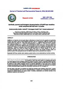 Synthesis, spectral and biological characterization of Schiff base ...